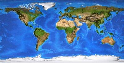 Płaska mapa świata w wysokiej rozdzielczości w lecie