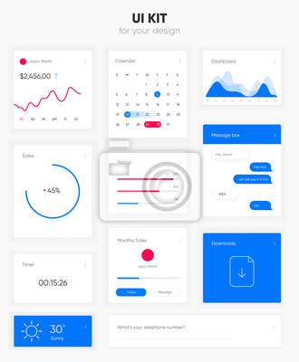 Płaski interfejs użytkownika wektor zestaw do tworzenia stron internetowych i projektowania aplikacji mobilnych