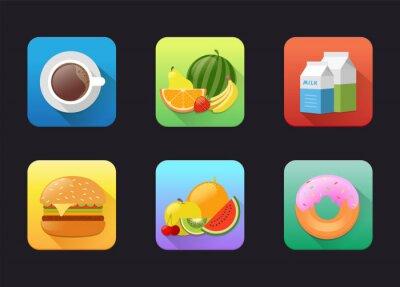 Płaskie ikona owoców