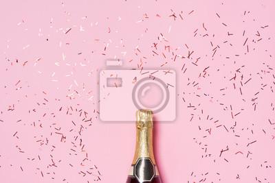 Obraz Płaskie ukształtowanie Celebration. Butelka szampana z partii kolorowe st