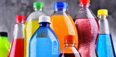 Obraz Plastic bottles of assorted carbonated soft drinks