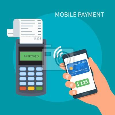 Płatności mobilne z smartphone. Koncepcja terminali płatniczych. transakcje online, PayPass i NFC.