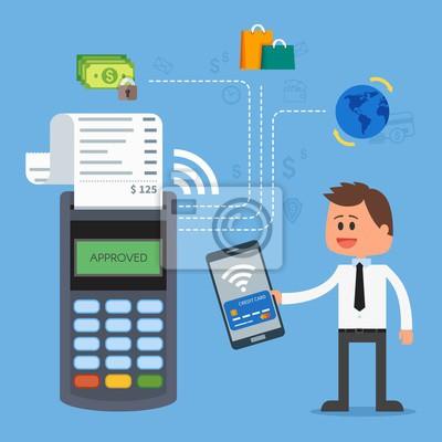 Płatności mobilne z smartphone. Koncepcja terminali płatniczych. transakcje online, PayPass i NFC. Cartoon ilustracji wektorowych w stylu mieszkania.
