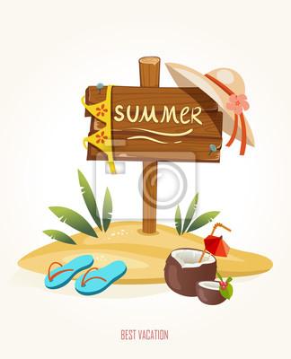 Plaża lato znak wakacje z koktajl w kokosowym strój kąpielowy i kapcie ma. Stylu cartoon.