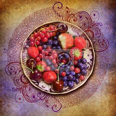 Obraz Płytka z owoców leśnych na tle grunge