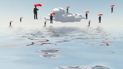 Obraz Pływające Mężczyźni z parasolami