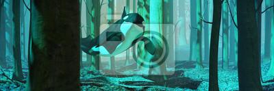 Obraz pływanie orka w lesie, orka latające w mglisty krajobraz