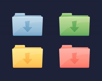 Pobierz ikonę folderu danych wektorowych. Folder ze strzałką pobierania
