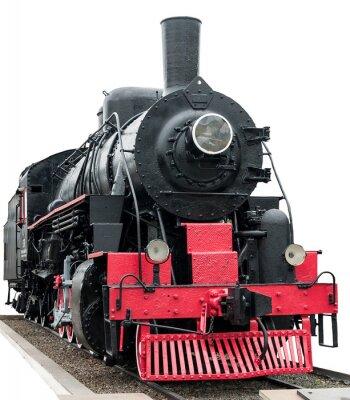 Obraz Pociąg parowy na białym tle.