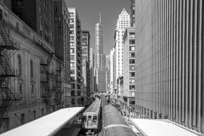 Obraz Pociąg w śródmieściu Chicago, IL