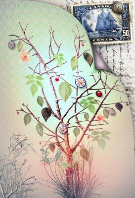 Obraz Pocztówka z drzewa wiosną i pieczęć