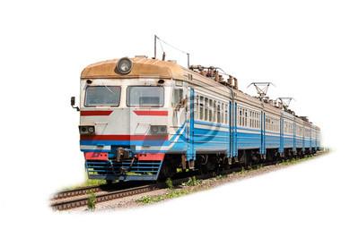 Podmiejski pociąg elektryczny na białym tle