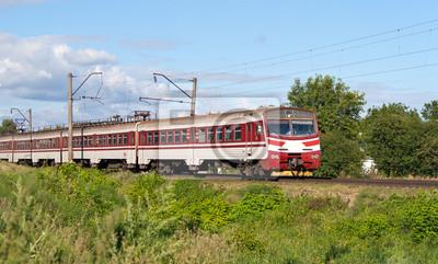 Podmiejski pociąg elektryczny w regionie Kijów, Ukraina