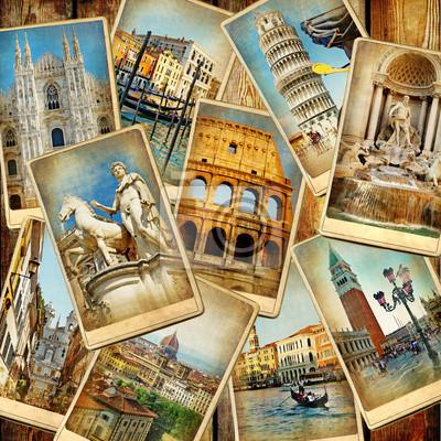 podróży we Włoszech - archiwalne kolażu ze starych kart