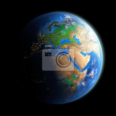 Podświetlany oblicze Ziemi odizolowane na czarno