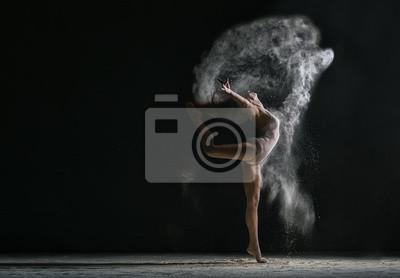 Obraz Pojęcie. Elastyczna dziewczyna tańczy w chmurze pyłu