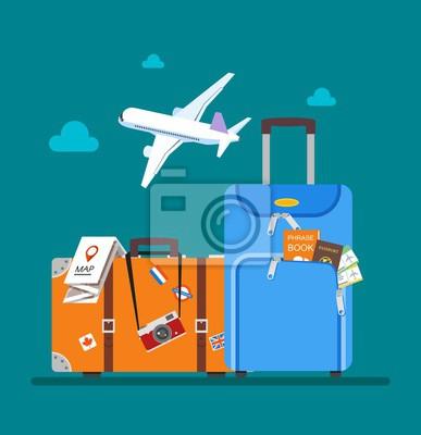 Pojęcie podróży ilustracji wektorowych w stylu płaskiej konstrukcji. Samolot lecący nad turystami bagażem. tło wakacje