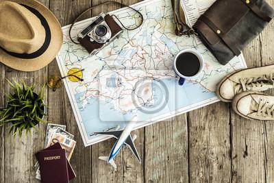 Obraz Pojęcie podróży na drewnianym stole
