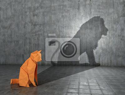 Obraz Pojęcie ukrytego potencjału. Papierowa figura kota, który wypełnia cień lwa. Ilustracja 3D