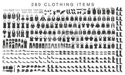 Obraz pojedyncze sylwetki kobiet i mężczyzn odzieży