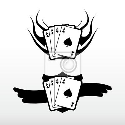 Poker Karty Wektor Tatuaż Tribal Obrazy Redro