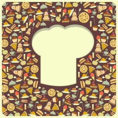 Obraz Pokrywa z retro Menu kucharzy kapelusz