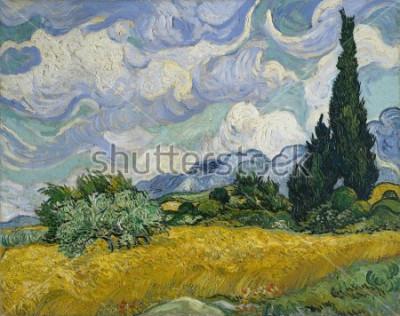 Obraz Pole pszenicy z cyprysami, Vincent Van Gogh, 1889, holenderski postimpresjonista, olej na płótnie. To była jego pierwsza wersja i najprawdopodobniej została namalowana w plenerze, kiedy Van Gogh mógł