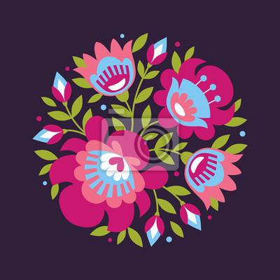 fa3861d4 Polish folk inspirowane kwiaty na ciemnym tle - Obrazy - Redro