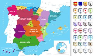 Obraz Political map of Spain with a 3D pointers