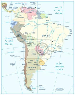 Polityczna mapa Ameryka Południowa