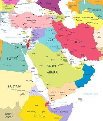 Obraz Polityczna mapa Bliskiego Wschodu i Azji Na Białym