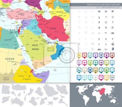 Polityczna mapa Bliskiego Wschodu i Azji, z kwadratową Flat Ikony