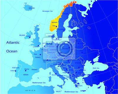 Obraz Polityczna Mapa Europy Norwegia Na Wymiar Tlo Projekt