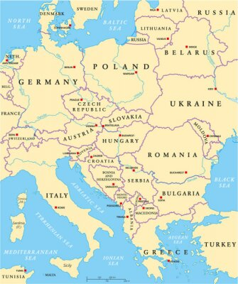 Obraz Polityczna mapa Europy Środkowa