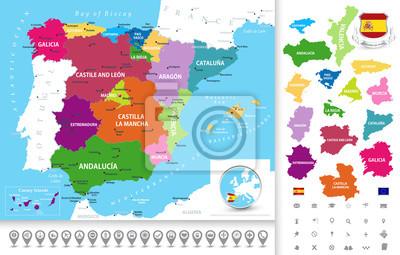 Polityczna mapa Hiszpanii z ikon nawigacji kolekcji