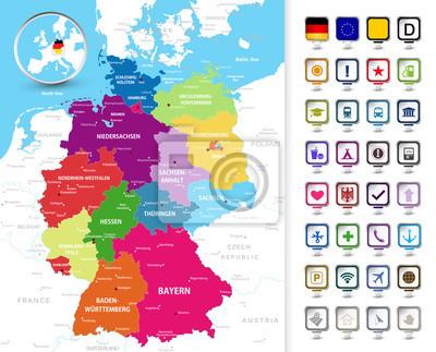 Polityczna mapa Niemiec z 3d wskaźników pin.