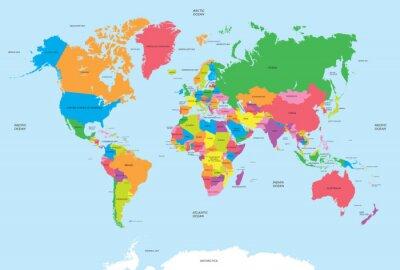 Obraz Polityczna mapa świata wektora