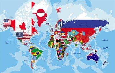 Obraz Polityczna mapa świata z flagami państw.