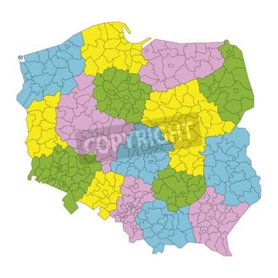 Obraz Polska Mapa Administracyjna Podzia Na Powiaty I Wojew