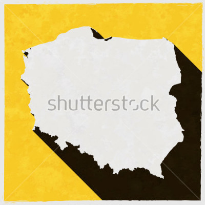 Obraz Polska mapa na retro plakat z długim cieniem. Vintage znak z efektami grunge. Dostępne ilustracje, łatwe do edycji, manipulować, zmiany rozmiaru lub koloryzacji.