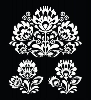 Obraz Polski folk biały kwiatowy wzór na czarnym - Wzory Łowicki