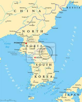 Obraz Polwysep Koreanski Polityczna Mapa Korei Polnocnej I