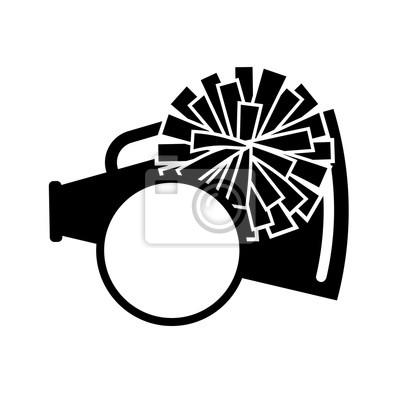 Obraz Pom pom and megaphone vector file. Monogram decor. Cheerleading digital design. Black color.  Isolated on transparent background.