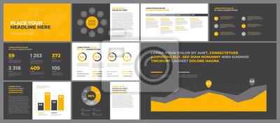 Pomarańczowe elementy szablonów prezentacji. Wykorzystaj w raporcie korporacyjnym, reklamie, raporcie rocznym.