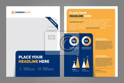 Pomarańczowy i niebieski biznes broszura koncepcja ulotki projekt szablon a4