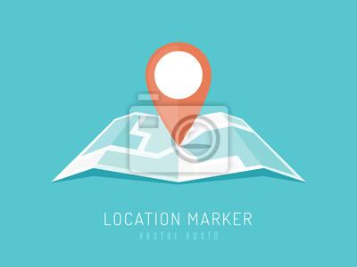 Obraz Pomarańczowy znacznik lokalizacji na mapie miasta ilustracji wektorowych w stylu płaskim