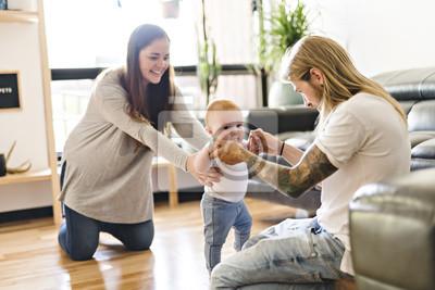Obraz Pomoc dla rodziców Córka Baby Pierwsze kroki w domu