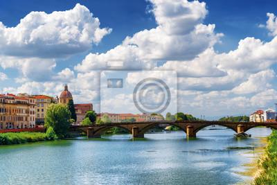 Obraz Ponte alla Carraia nad rzeką Arno, Florencja, Włochy
