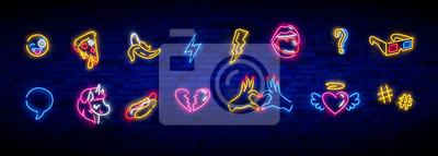 Obraz Pop art icons set. Pop art neon sign. Bright signboard, light banner. Neon isolated icon, emblem. Heart, diamond, pizza, smile, hand, ice cream, star, donut and unicorn vector neon icon