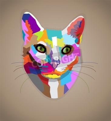 Obraz Pop-art kolorowe kot.